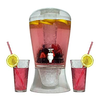 Large 2 Gallon Beverage Dispenser on Stand with Spout – Ice Base and Core Keep Juice and Drinks Cold – Shatterproof Acrylic Jug with Fruit and Tea Infuser and Spigot Perfect for Parties