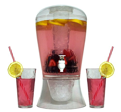 Large 2 Gallon Beverage Dispenser on Stand with Spout Ice Base and Core Keep Juice and Drinks Cold Shatterproof Acrylic Jug with Fruit and Tea Infuser and Spigot Perfect for Parties