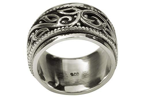 SILBERMOOS Herren Ring Bandring mit drehbarem Ornament-Band geschwärzt 925 Sterling Silber, Größe:70 (22.3)