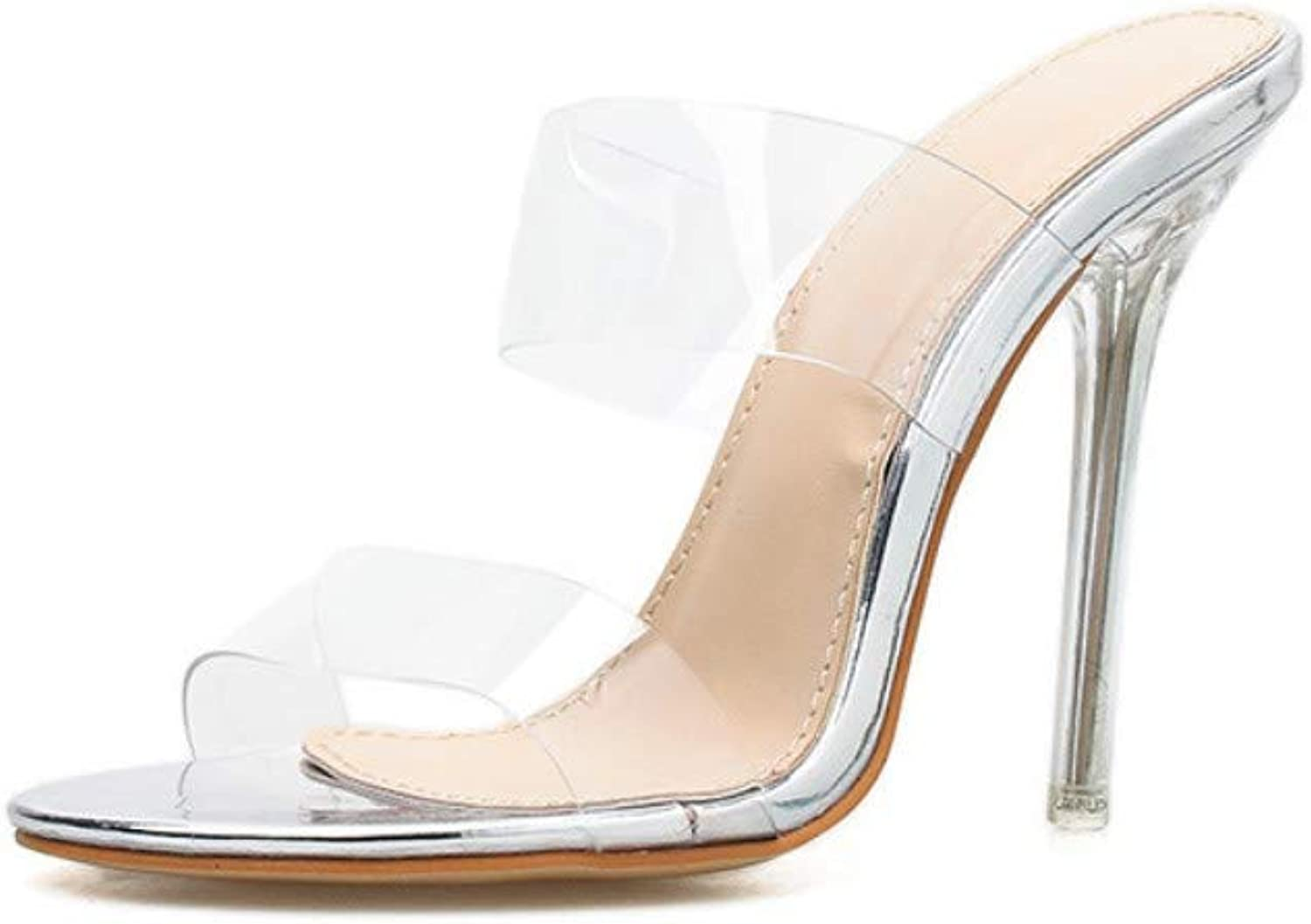 JQfashion Women's High-Heeled Sandals Transparent Fashion Outdoor Slippers Miller shoes
