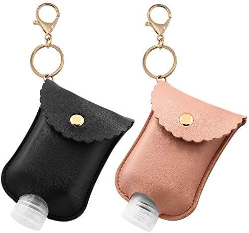 JOAN Lot de 2 porte-clés de voyage en plastique transparent avec porte-clé en cuir pour bouteille de voyage 60 ml