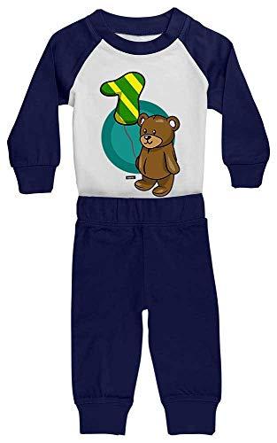 HARIZ HARIZ Baby Pyjama Kuschliger Bär 1 Geburtstag Geschenkidee Plus Geschenkkarte Weiß/Navy Blau 6-12 Monate