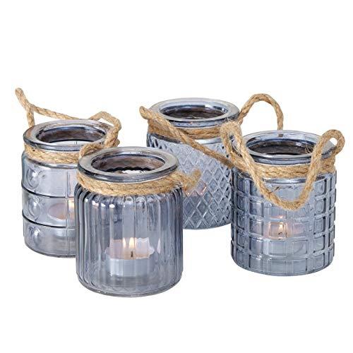 ReWu Maritim Teelichthalter Windlicht Kerzenhalter aus Glas in Blau mit Kordel Halter