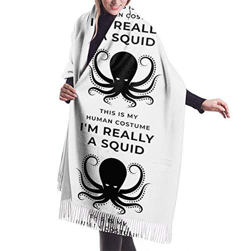 Ahdyr Bufanda de chal para mujer Negro Este es mi disfraz humano Realmente soy un calamar Bufanda de invierno Bufandas de cachemira Elegante chal envuelve Manta
