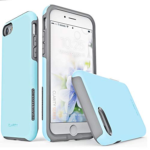 """TEAM LUXURY iPhone 8 Case, iPhone 7 Case, iPhone SE 2020 Case, Updated G-III Ultra Defender [Shock Absorbent] Protective Phone Case for Apple iPhone SE /8/7 (4.7"""") - Sky Blue/Gray"""