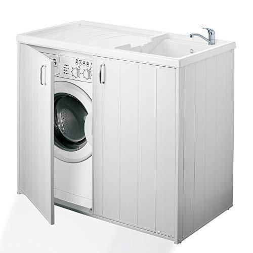 forlani Lavatoio e Coprilavatrice in PVC 109x60x92cm Superwash Bianco