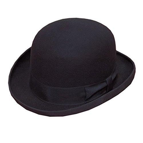Hawkins rigide de haute qualité Top 100% laine Chapeau melon Noir avec large bande NEUF - Noir - 58