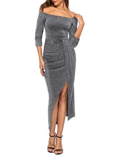 ZJCTUO Damen Kleid Abendkleid Schulterfreies Cocktailkleid Jerseykleid Skaterkleid Hochzeit Elegant Festlich Partykleid glänzend und hoch geschnitten...