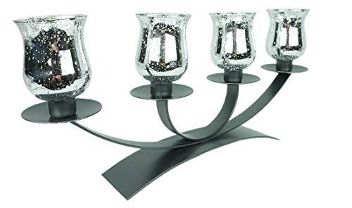 Novaliv 4er Kerzenhalter mit 4 Teelichtgläser Silber Adventsgesteckfür Stabkerzen länglich Kerzenständer Adventskranz Kerzentablett Metall Kerzen Advent Weihnachtsdeko Kerzenleuchter