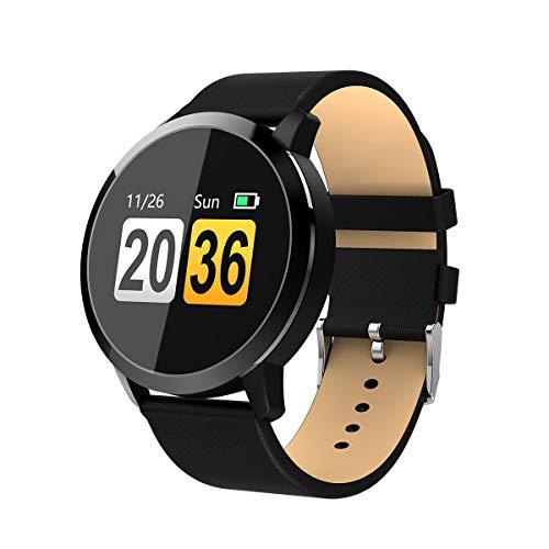 Hemobllo Smartwatch,Q8 Explosion Modelle Neue Smart Watch Großbild Sport Runde Touch Monitoring Herzfrequenz Armband Lange Standby IP67 (Schwarzer Gürtel)
