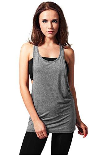Urban Classics Mujeres Suelto Burnout Camiseta De Tirantes, Gris Oscuro - Darkgrey, S