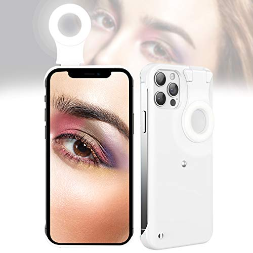 Selfie Case for iPhone 12/12 Pro, Selfie Ring Light Case for iPhone 12/12 Pro, LED Luminous Selfie Light Up Case for iPhone 12/12 Pro to Tiktok/Live Streaming/Makeup/Photos/YouTube Video - White