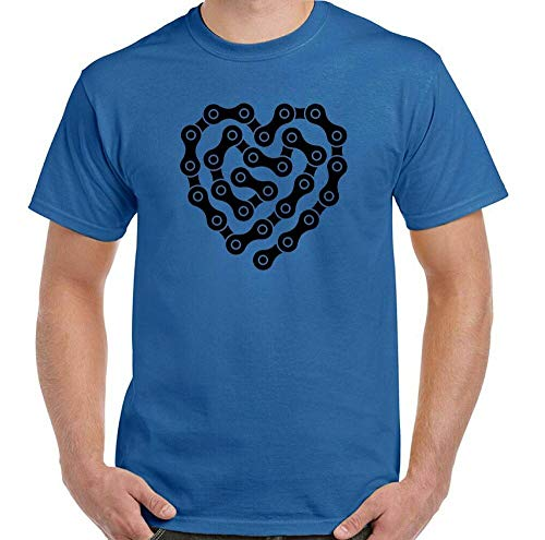 LKJF Bicycle T-Shirt Biker Motorcycle Heart Bicycle Chain Mens Funny MTB Racer Sapphire XXL