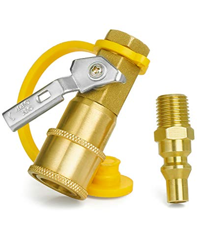 GASPRO 1/4 Inch RV Propane Quick Connect Fittings, Natural/LP Gas Propane Disconnect Kit with Shutoff Valve, Full Flow Plug 100% Solid Brass