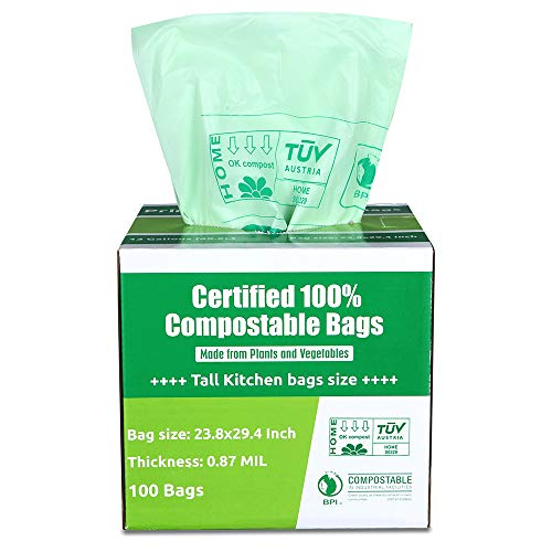 Primode 100% Compostable Bags, 13 Gallon / 50 Liter Food Scraps Yard Waste Bags, Extra Thick 0.87 Mil. ASTMD6400 Biodegradable...