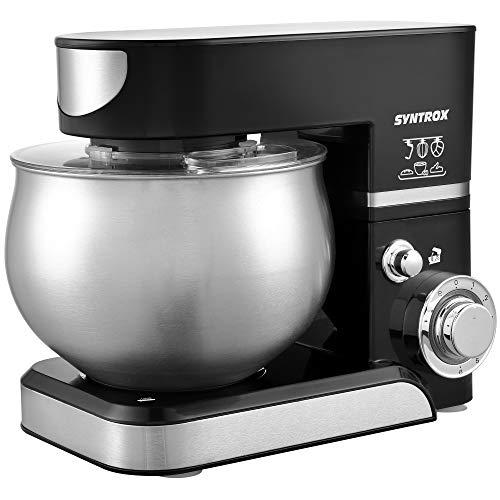 Syntrox Germany KM-5.0L Basic Black Robot de cuisine avec récipient en acier inoxydable Noir 5 l