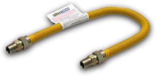 Flextron FTGC-YC38-30G 30 Inch Flexible Epoxy Coated Gas Dryer Connector with 1/2 Inch Outer Diameter & 3/8 Inch MIP x 3/8 Inch MIP Fitting, Yellow/Stainless Steel, Excellent Corrosion Resistance