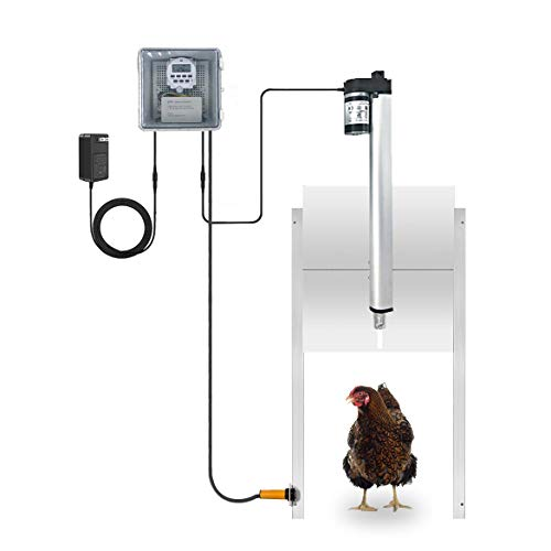 JVR Automatic Chicken Door Coop Opener Kit with Safety Mechanism, Rainproof Outdoor Timer Controller Actuator Motor, 12V DC Power Supply (Timer Version)