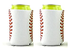 Baseball Beer Holders Come in a Set of 2, Made of Thick Neoprene Available for Cans or Zippered Bottle Sleeve, White with Baseball Stitches Fun Baseball Gift Idea for Men, Women, Coaches or Fans of the Game Thank You Present for End of the Season for...