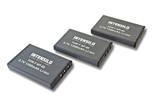 INTENSILO 3X batería reemplaza Pentax D-Li2 para teléfono WiFi para Skype (1300mAh, 3,7V, Li-Ion)