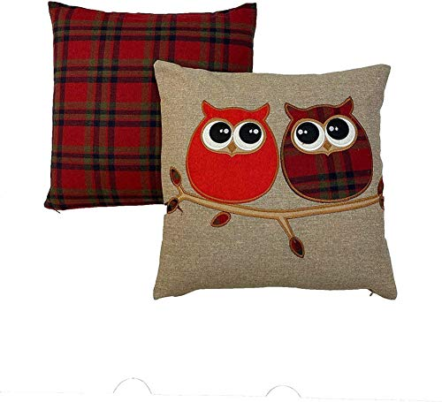 Maple Textile Set of 2 Covers 1x Tartan 1 x Owl Highland Red Navy and Green Tartan Classic Check Plaid Brushed Wool Feel Cushion Cover and Owl Design Cover 18' x 18' (45 cm x 45 cm)