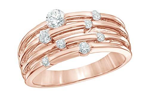 Anillo de órbita en capas de diamantes naturales blancos en oro rosa de 9 quilatesR 1/2-RG