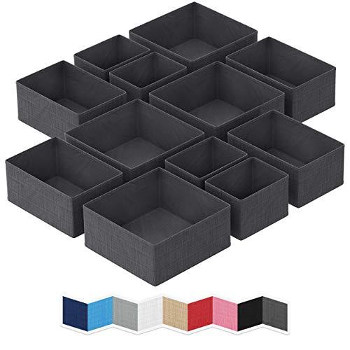 Organizador de cajones NEATERIZE – [Juego de 12] – Organizador de armario y cestas de almacenamiento | Divisor de cajones de tela plegable | Papelera de tela para aparador y...