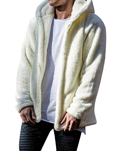 Modchok - Chaqueta de forro polar para hombre con bolsillos, abrigo de felpa con capucha, sudadera con capucha 1-weiß M