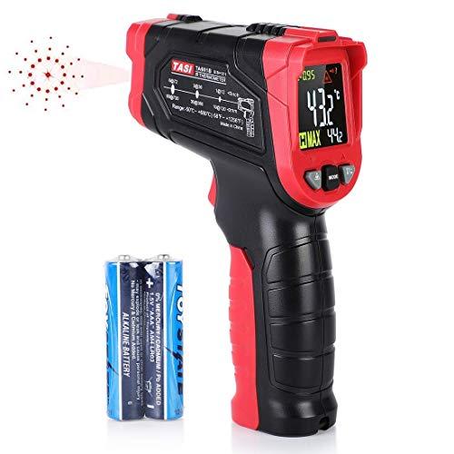 EECOO TA601B Infrarot Thermometer, Digital IR Thermometer -50°C ~ 680°C (-58~1256 ° F) Kontaktfreies mit LCD Farbbildschirm, Alarmfunktion, Einstellbarer Emissionsgrad, Rot und Schwaz