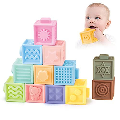 Baby Blocks Soft Building Blocks Toys Early Educational Squeeze Stackable Baby Toys Play with Number Animals Textures and Matching Game for Boys and Girls