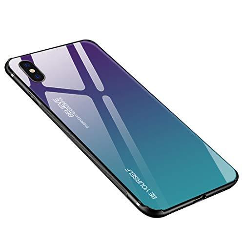 Funda iPhone XS MAX Case Borde de Silicona TPU Suave + Cristal...