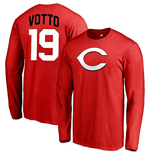 Outerstuff MLB Youth 8-20 Team Color Alternate Primary Logo Name and Number Long Sleeve Player T-Shirt (Joey Votto Cincinnati Reds Red, 18-20)