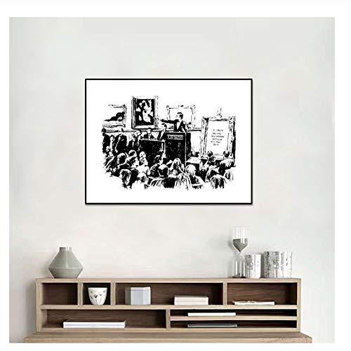 Suuyar Banksy Graffiti Auktionen Lrony Plakate und Drucke Wohnzimmer Wandkunst Dekoration Schwarz-Weiß Leinwand Gemälde-50x70cm Kein Rahmen