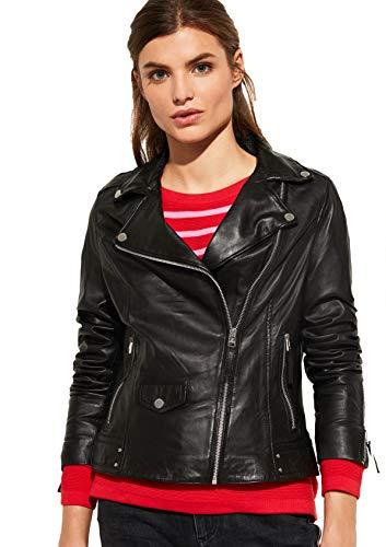 comma Casual Identity Damen Taillierte Jacke aus Leder Black 38