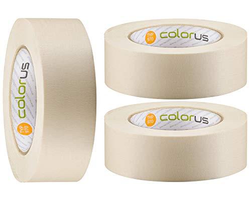 3 x Colorus Premium Maler-Klebeband PLUS 38 mm x 50 m | Feinkrepp-Klebeband wasserabweisend, rückstandsfrei entfernbar | Abklebeband 90° hitzebeständig | Für professionelle Abklebearbeiten