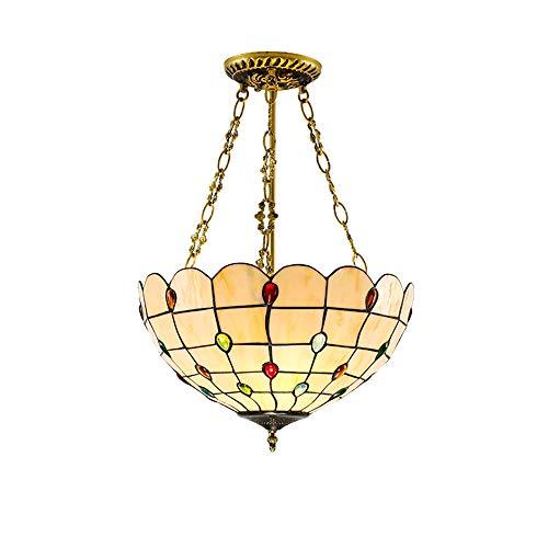 PGONE Tiffany Retro Barroco Invertido Techo Colgante Luz Vidriera Lámpara Colgante De Suspensión para Hotel Hogar Dormitorio Bar Accesorio De Iluminación Europeo, E27x1