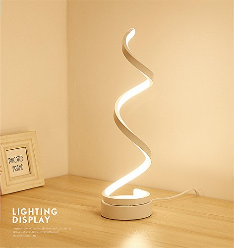 ELINKUME Lampe de chevet en spirale LED,12W blanc chaud protection des yeux Dimmable luminosité réglable,incurvé LED Lampe de table/éclairage décoratif pour chambre à coucher salon (blanc)