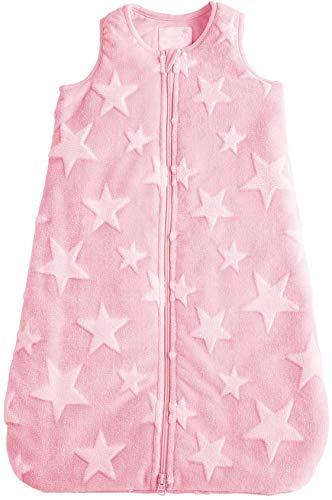 POCOPIANO® Baby Winterschlafsack | Schlafsack aus weichem Plüsch | Innenfutter aus 100% Baumwolle (rosa - Sterne Muster, 70 cm - ca. 0-6 Monate)