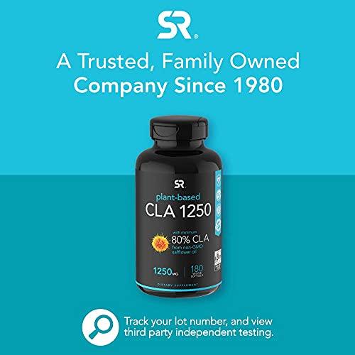 Plant-Based CLA 1250 for Men & Women | Vegan Safe, Non-GMO & Gluten Free (180 Veggie Softgel Capsules)