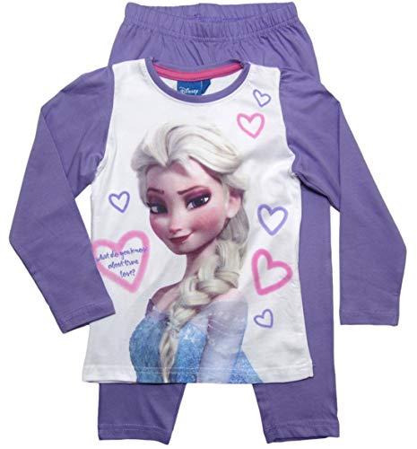 Frozen - Die Eiskönigin Mädchen Schlafanzug ELSA Pyjama (Weiß-Rosa-Blau, 104-110)