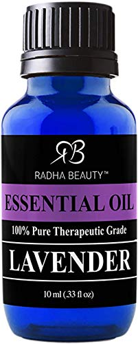 Radha Beauty Lavender Essential Oil 10ml. - Natural & Therapeutic Grade, Steam Distilled for Aromatherapy, Relaxation, Sleep, Laundry, Meditation, Massage