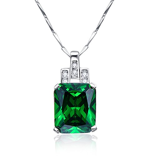 bonlavie 6.95ct creado verde esmeralda colgante collar de la mujer 925plata de ley, 18