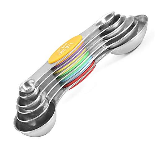 6 Piece 2 Head Keuken Spoon Scale, met Schaal Spoon, Mini Coffee Spoon Scale, geschikt voor thuis, keuken, koffie, thee, granen, melkpoeder, albumine poeder, Silver