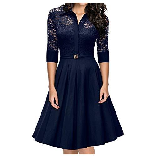 Yourgod - Falda de encaje de manga larga para mujer, diseño de patchwork, vestido de noche, elegante, talla grande Azul azul L