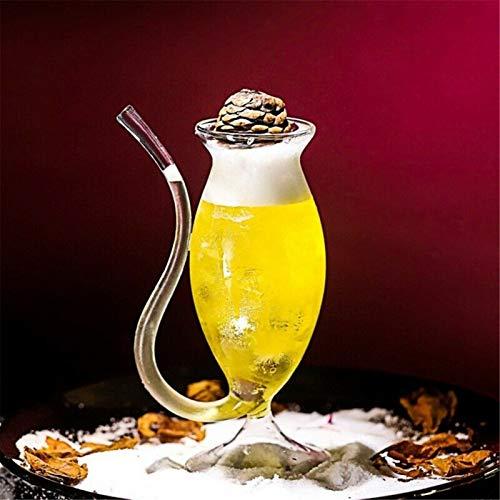 HSIOVE Vino Whisky Vidrio Resistente al Calor Cristal chupar Jugo Taza té té Vino Vino Taza con Tubo de Bebida Copa de Vino de Paja (Color : C)