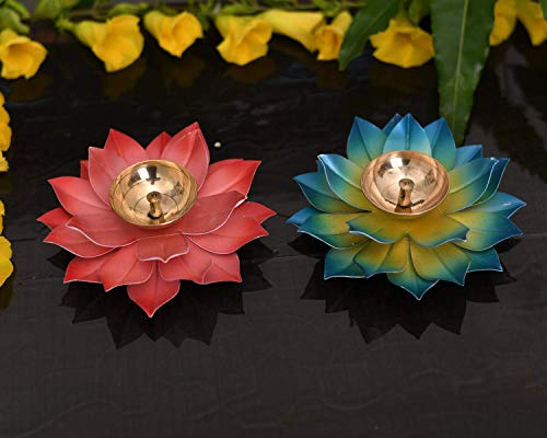 EFINITO Diya for Puja Home Decoration Item Gift, Lotus Brass Diyas Oil Lamp Pooja, Diwali Gifts (Set von 2)