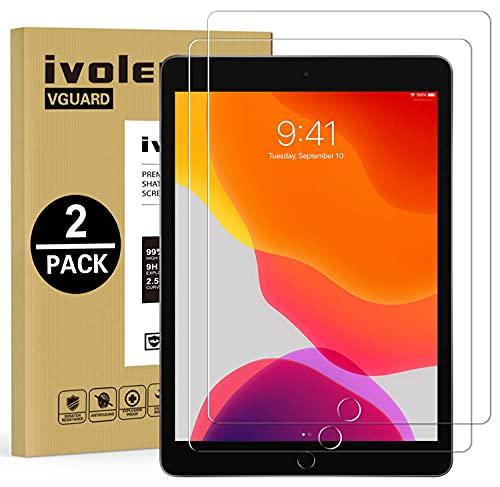 ivoler 2 Unidades Protector de Pantalla para iPad 10.2 Pulgadas 2020/2019 (iPad 8 generacion/iPad 7 generacion), iPad Air 3 (10,5 Pulgadas) y iPad Pro 10,5 (2017), Cristal Vidrio Templado Premium