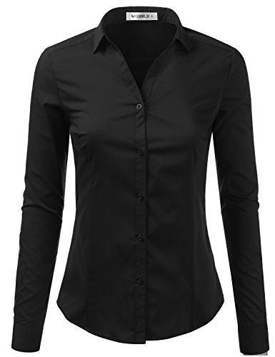 Doublju Womens Slim Fit Plain Classic Long Sleeve Button Down Collar Shirt Blouse Black Medium