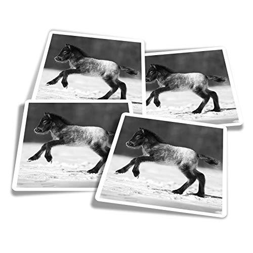 Pegatinas de vinilo (juego de 4) 10 cm – BW – lindo potro caballo pony nieve divertidos adhesivos para ordenadores portátiles, tabletas, equipaje, reserva de chatarra #38077