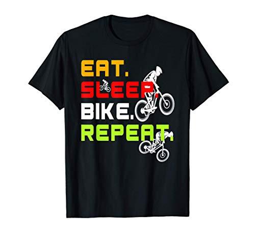 MTB Mountain Bike Eat Sleep Bike Repeat Regalo divertente Maglietta